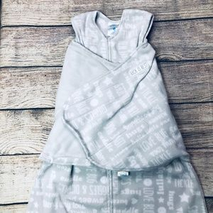 Small Halo Swaddle Sleepsack fleece grey words